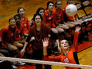 1 Nov. 2011 -- EDWARDSVILLE, Ill. -- Edwardsville High School volleyball player Maddie Werths (10) spikes the ball against Belleville West High School during the IHSA Class 4A girls volleyball sectional semifinal at Edwardsville High School in Edwardsville, Ill. Tuesday, Nov. 1, 2011. Edwardsville won, 2-1. Photo © copyright 2011 Sid Hastings.