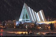 The 'Arctic Cathedral' near the Storsteinen hills is one of the distinctive landmarks in the city of Tromsø, in the far north of Norway.