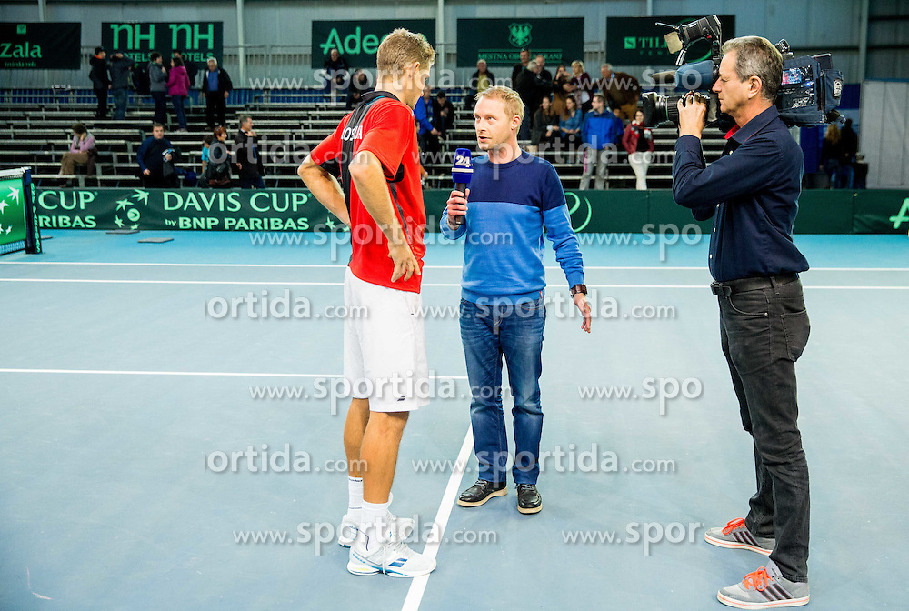 Blaz Rola during Day 3 at Davis Cup Slovenia vs Lithuania competition, on November 1, 2015 in Kranj, Slovenia. Photo by Vid Ponikvar / Sportida