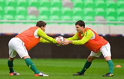 Dalibor Stevanovic and Branko Ilic during the Slovenia training session at Stozice stadium on October 7, 2010 in SRC Stozice, Ljubljana, Slovenia. (Photo by Vid Ponikvar / Sportida)