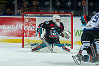KELOWNA, CANADA - OCTOBER 5:  James Porter #1 of the Kelowna Rockets defends the net against the Victoria Royals on October 5, 2018 at Prospera Place in Kelowna, British Columbia, Canada.  (Photo by Marissa Baecker/Shoot the Breeze)  *** Local Caption ***
