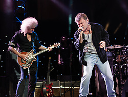 "© Licensed to London News Pictures. 16/09/2012. London, UK.  Brian May (L) and Bruce Dickinson (Right) perform at The Sunflower Jam at the Royal Albert Hall.  Brian May is a founding member and guitarist of Queen, and Bruce Dickinson is a founder member and singer of Iron Maiden.  The Sunflower Jam is a British charity, founded by Jacky Paice, wife of Deep Purple drummer, Ian Paice. Other high-profile supporters are the actor Jeremy Irons, ex-Jamiroquai bassist Nick Fyffe and Charles, Prince of Wales. The aims of the charity are to fund complementary therapists and spiritual healers to work on cancer wards in the British National Health Service. After setting up a meeting between members of Deep Purple and a young boy dying of leukemia, Paice saw ""all the good work the healers were doing"" and decided ""lets find a way to raise money to get more healers in there. Photo credit : Richard Isaac/LNP"