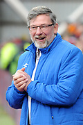 Craig Levein can't hide his delight during the Ladbrokes Scottish Premiership match between Heart of Midlothian and Celtic at Tynecastle Stadium, Gorgie, Scotland on 17 December 2017. Photo by Kevin Murray.
