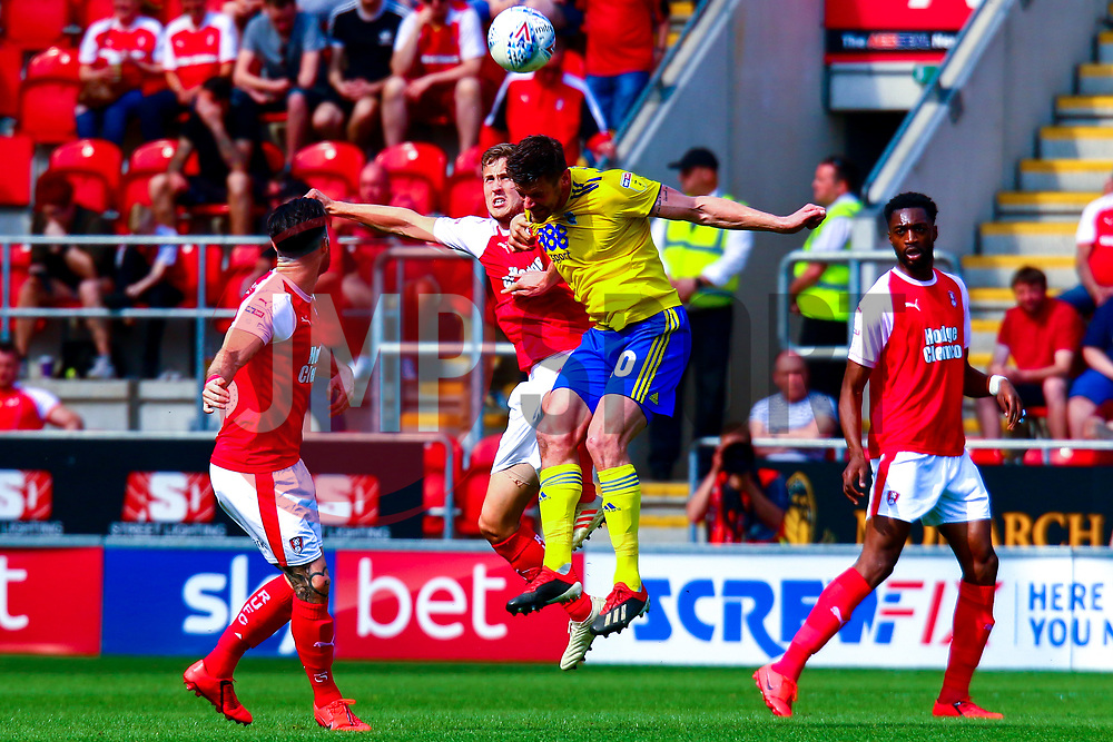Will Vaulks of Rotherham United and Gary Gardner of Birmingham City jump to head the ball - Mandatory by-line: Ryan Crockett/JMP - 22/04/2019 - FOOTBALL - Aesseal New York Stadium - Rotherham, England - Rotherham United v Birmingham City - Sky Bet Championship