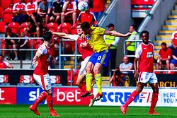 Will Vaulks of Rotherham United and Gary Gardner of Birmingham City jump to head the ball - Mandatory by-line: Ryan Crockett/JMP - 22/04/2019 - FOOTBALL - Aesseal New York Stadium - Rotherham, England - Rotherham United v Birmingham City - Sky Bet Championship