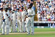 Wicket - Ishant Sharma of India walks back to the pavilion after being dismissed by Adil Rashid of England during second day of the Specsavers International Test Match 2018 match between England and India at Edgbaston, Birmingham, United Kingdom on 2 August 2018. Picture by Graham Hunt.