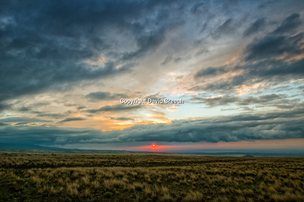 Amazing sunset over the grasslands along the Manahaloa Highway in Hawaii between Kona and Waimea.