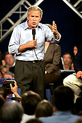 The US President George W. Bush campaigning for re-election at the National Sport Center in Blaine outside Minnesota in 2004.