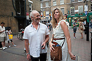 MIKE RADFORD; EMMA TWEED, Burnt Oak premiere of Laurence Lynch play detailing his life as a Soho plumber and close friend to artist Sebastian Horsley. Directed by Nathan Osgood and produced by Tartan Films founder Hamish McAlpine. Leicester Square Theatre, 6 Leicester Place, London, 2 August 2011.<br /> <br />  , -DO NOT ARCHIVE-© Copyright Photograph by Dafydd Jones. 248 Clapham Rd. London SW9 0PZ. Tel 0207 820 0771. www.dafjones.com.