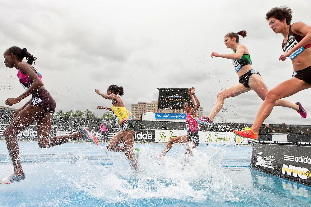 adidas Grand Prix Diamond League professional track & field meet: womens steeplechase, water pit