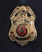 Houston ISD Chief of Police badge on Robert Mock, January 6, 2014, at the High School for Law Enforcement and Criminal Justice.