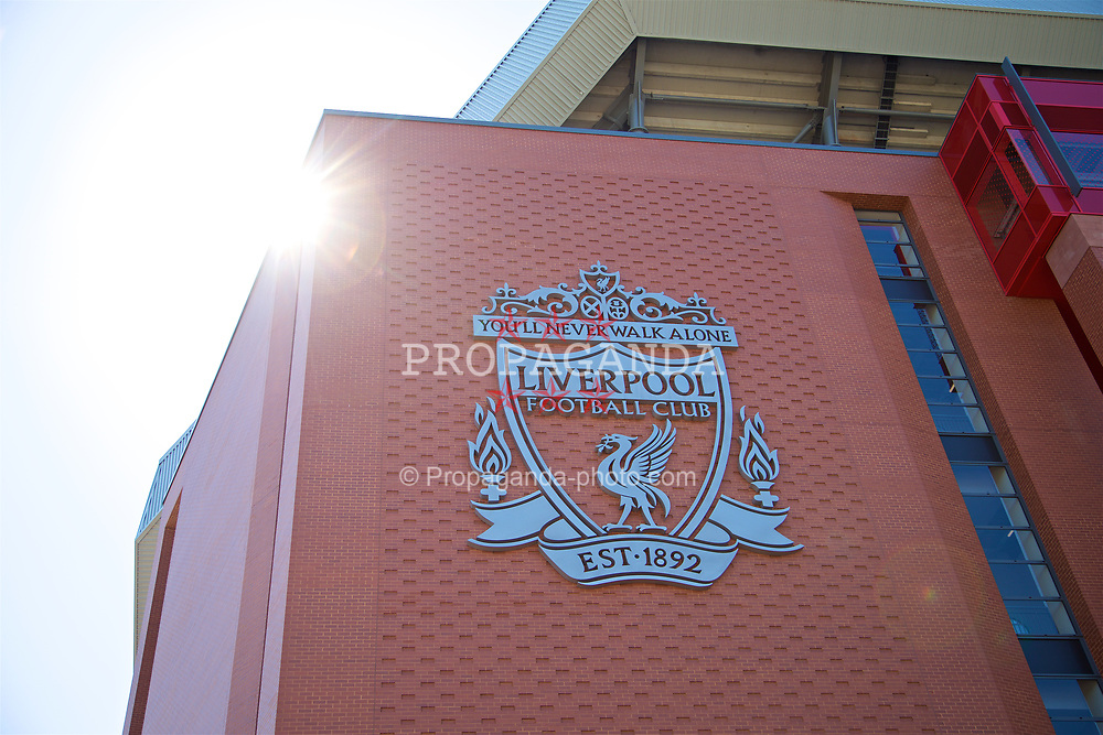 LIVERPOOL, ENGLAND - Sunday, June 18, 2017: The Liverpool club crest on the new Main Stand at Anfield. (Pic by David Rawcliffe/Propaganda)
