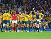 Australia celebrate a penalty after a long period of defence during the Rugby World Cup Pool A match between Australia and Wales at Twickenham, Richmond, United Kingdom on 10 October 2015. Photo by Ian Muir.during the Rugby World Cup Pool A match between Australia and Wales at Twickenham, Richmond, United Kingdom on 10 October 2015. Photo by Ian Muir.