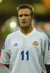CARDIFF, WALES - Wednesday, September 10, 2003: Finland's Joonas Kolkka during the Euro 2004 qualifying match at the Millennium Stadium.. (Photo by David Rawcliffe/Propaganda)