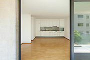 interior of an apartment, empty living room with kitchen