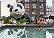 China, Sichuan. Chengdu. IFS Mall (Chengdu International Finance Square) is famous for the giant panda sculpture climbing up its wall.