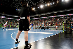 Referre during handball match between RK Krim Mercator (SLO) and Larvik HK (NOR) in second game of semi final of EHF Women's Champions League 2012/13 on April 13, 2013 in Arena Stozice, Ljubljana, Slovenia. (Photo By Urban Urbanc / Sportida).