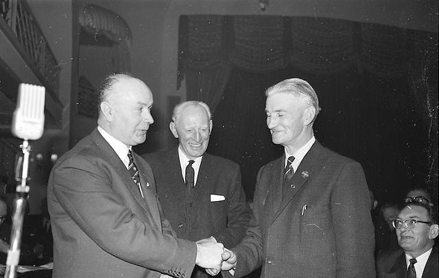 Mr Hugh O'Byrne (left) outgoing President, congratulating Mr Alf Murray, Armagh, on his election as new President of the GAA at the annual GAA Congress in the Gresham Hotel, Dublin on Sunday...Annual Congress, GAA. 29.3.1964. 29th March 1964