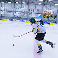 2nd year forward Jaycee Magwood (5) of the Regina Cougars in action during the Women's Hockey home game on October 8 at Co-operators arena. Credit: Arthur Ward/Arthur Images
