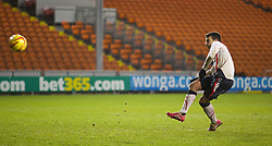 BLACKPOOL, ENGLAND - Wednesday, December 18, 2013: Liverpool's Pedro Chirivella misses his side's fifth penalty against Blackpool to leave the score 3-2 during the FA Youth Cup 3rd Round match at Bloomfield Road. (Pic by David Rawcliffe/Propaganda)
