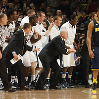 Penn State head coach Pat Chambers (center) reacts with the Penn State bench as the Nittany Lions mount a comeback during the second half of an NCAA basketball game in Unversity Park, Pa., Wedneday, February 27, 2013.