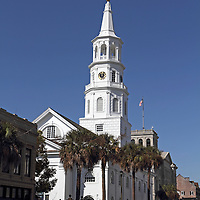 St. Michael's Episcopal Church, Charleston, SC, USA. A landmark church visited and worshipped in by George Washington and Robert E. Lee during visits to Charleston. Its graveyard includes the graves of two signers of the US Constitution: John Rutledge and Charles Coteworth Pinkney.