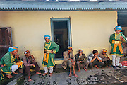 Local people resting in the Lord Raghunath Temple. Kullu Dussehra is the Dussehra festival observed in the month of October in Himachal Pradesh state in northern India. It is celebrated in the Dhalpur maidan in the Kullu valley. Dussehra at Kullu commences on the tenth day of the rising moon, i.e. on 'Vijay Dashmi' day itself and continues for seven days. Its history dates back to the 17th century when local King Jagat Singh installed an idol of Raghunath on his throne as a mark of penance. After this, god Raghunath was declared as the ruling deity of the Valley.