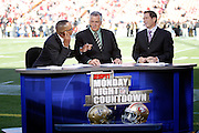 The crew of ESPN's Monday Night Football broadcast staff (L-R) Stewart Scott, Matt Millen, and Steve Young work on the field as they talk about the pending San Francisco 49ers NFL regular season week 2 football game against the New Orleans Saints on September 20, 2010 in San Francisco, California. The Saints won the game 25-22 on a last second field goal. ©Paul Anthony Spinelli