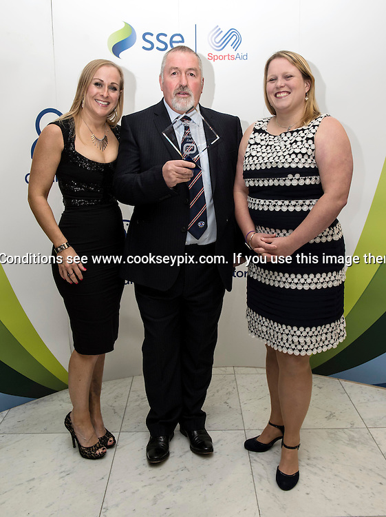 Picture by Christian Cooksey/CookseyPix.com on behalf of the Scottish Women in Sports Awards.<br /> <br /> Pictured at the Scottish Women In Sports Awards held at Hampden Park Glasgow is  Jennifer Cram, Allan Douglas and Beth Dickens from Murrayfield Wanders Ladies who won the Purple TV - 2015 Best Team Performance <br /> <br /> <br /> For full terms and conditions see www.cookseypix.com