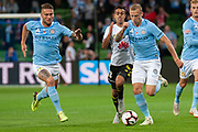 MELBOURNE, VIC - NOVEMBER 09: Wellington Phoenix midfielder Sarpeet Singh (18) competes with several City players at the Hyundai A-League Round 4 soccer match between Melbourne City FC and Wellington Phoenix on November 09, 2018 at AAMI Park in Melbourne, Australia. (Photo by Speed Media/Icon Sportswire)