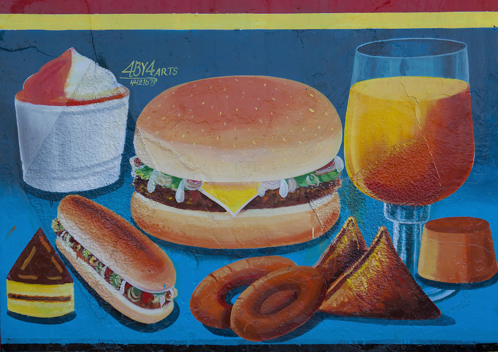 Fast Food Restaurant Advertisement Painted Sign Hargeisa Somaliland