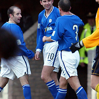 St Johnstone v Raith Rovers...24.01.04<br />Stuart Taylor celebrates his first goal for St Johnstone with Jamie McQuilken and Brian McLaughlin<br /><br />Picture by Graeme Hart.<br />Copyright Perthshire Picture Agency<br />Tel: 01738 623350  Mobile: 07990 594431