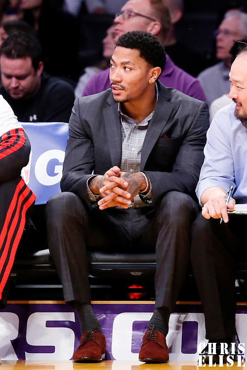 09 February 2014: Chicago Bulls point guard Derrick Rose (1) is seen on the bench during the Chicago Bulls 92-86 victory over the Los Angeles Lakers at the Staples Center, Los Angeles, California, USA.