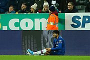 Reece James (#24) of Chelsea awaits treatment by the side of the pitch during the Premier League match between Newcastle United and Chelsea at St. James's Park, Newcastle, England on 18 January 2020.
