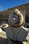 Stone head in the Ruins of Leptis Magna,Unesco world heritage sight, Libya