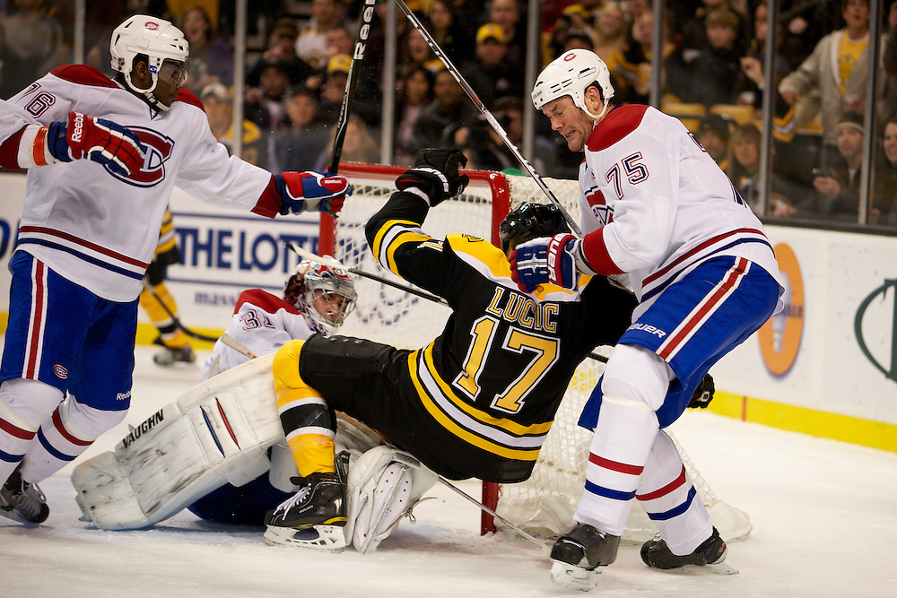 the NHL game between the Montreal Canadiens and the Boston Bruins at the TD Bank Garden on February 9, 2011 in Boston, Massachusetts.