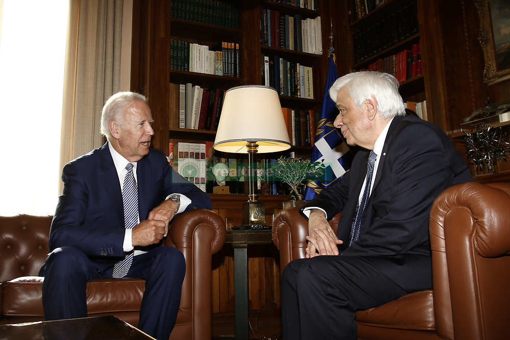 June 5, 2017 - Athens, Attica, Greece - Greek President Prokopis Pavlopoulos (R) with Joe Biden, former Vice President of the United States, at the Presidential mansion, in Athens on June 6, 2017. Biden visits Athens to participate at the Concordia Europe Summit. (Credit Image: © Panayotis Tzamaros/NurPhoto via ZUMA Press)