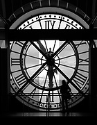 Silhouette of clock face in the Musee D'Orsay, Paris France