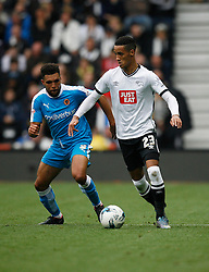 Scott Golbourne of Wolverhampton Wanderers (L) and Thomas Ince of Derby County in action - Mandatory byline: Jack Phillips / JMP - 07966386802 - 18/10/2015 - FOOTBALL - The iPro Stadium - Derby, Derbyshire - Derby County v Wolverhampton Wanderers - Sky Bet Championship