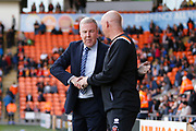 Kenny Jackett Manager of Portsmouth and Simon Grayson Manager of Blackpool shake hands during the EFL Sky Bet League 1 match between Blackpool and Portsmouth at Bloomfield Road, Blackpool, England on 31 August 2019.