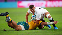 Rugby Union - 2019 Rugby World Cup - Quarter-Final: England vs. Australia<br /> <br /> Henry Slade of England and Tolu Latu of Australia at at Oita Stadium, Oita Prefecture.<br /> <br /> COLORSPORT/LYNNE CAMERON