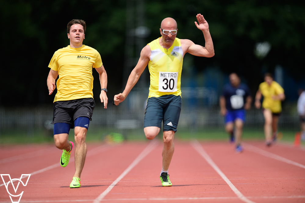 Metro Blind Sport's 2017 Athletics Open held at Mile End Stadium.  100m.  Amir Kamali-Sarvestani with guide runner<br /> <br /> Picture: Chris Vaughan Photography for Metro Blind Sport<br /> Date: June 17, 2017