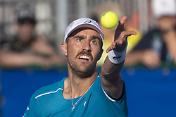 February 21, 2018 - Delray Beach, FL, United States - Delray Beach, FL - February 21: Steve Johnson (USA) defeats Milos Raonic (CAN) 62 64 at the 2018 Delray Beach Open held at the Delray Beach Tennis Center in Delray Beach, Florida.   Credit: Andrew Patron/Zuma Wire   Credit: Andrew Patron/Zuma Wire (Credit Image: © Andrew Patron via ZUMA Wire)