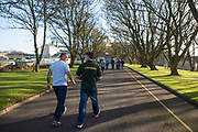 Prisoners walking through the prison on freeflow in HMP/YOI Portland, Dorset, United Kingdom.