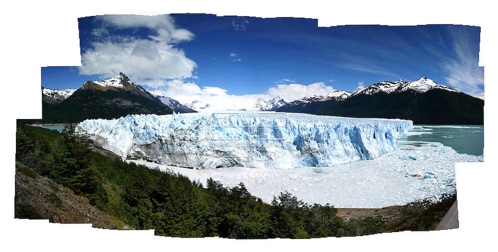 28th November 2007, Patagonian, Argentina. 26 images from a 16.7 megapixel camera merged together to form an 800 mb pictures, shows The Perito Moreno glacier, located 78 km from El Calafate, in Argentina was named after the explorer Francisco Moreno. The huge glacier is one of only three Patagonian glaciers that are not retreating. Standing 5 km wide, with an average height of 60 meters above the surface of the water, with a total ice depth of 170 meters. It advances at a speed of up to 2 meters per day (around 700 meters per year).PHOTO © JOHN CHAPPLE / REBEL IMAGES.john@chapple.biz    www.chapple.biz