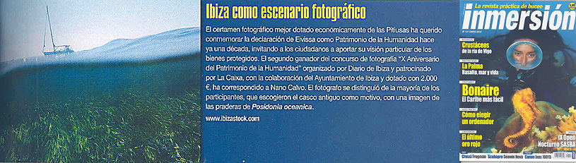 Inmersion - January 2010<br /> Press note about 2nd Prize in Ibiza World Heritage Photo Contest