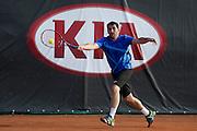 Tennis player competes in 29th Polish National Championships in Amateur Tennis on Warszawianka Courts in Warsaw, Poland.<br /> <br /> Poland, Warsaw, July 15, 2013<br /> <br /> Picture also available in RAW (NEF) or TIFF format on special request.<br /> <br /> For editorial use only. Any commercial or promotional use requires permission.<br /> <br /> Photo by &copy; Adam Nurkiewicz / Mediasport
