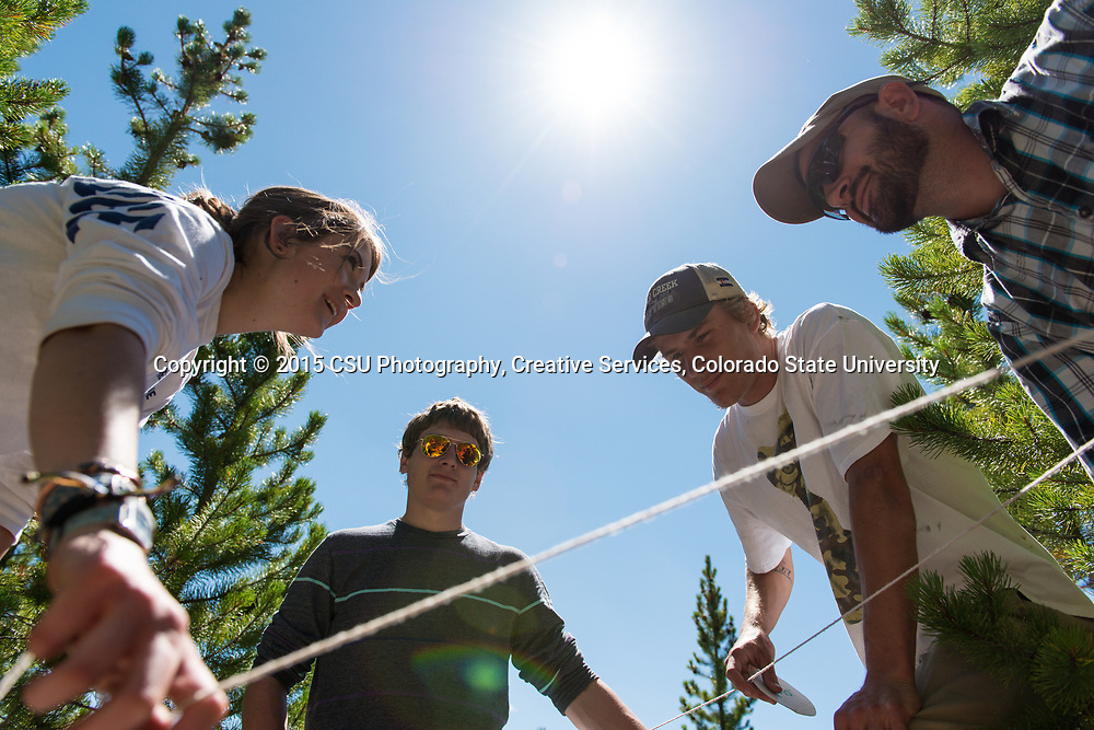 Colorado State University Warner College of Natural Resources students get field experience in the NR 220 Natural Resources Ecology and Measurements course near the CSU Mountain Campus in Pingree Park, July 28, 2015.