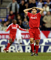 Photo: Jed Wee.<br /> Bolton Wanderers v Fulham. The Barclays Premiership. 26/02/2006.<br /> <br /> Fulham's Moritz Volz has his head in his hands as they squander a 1-0 lead.