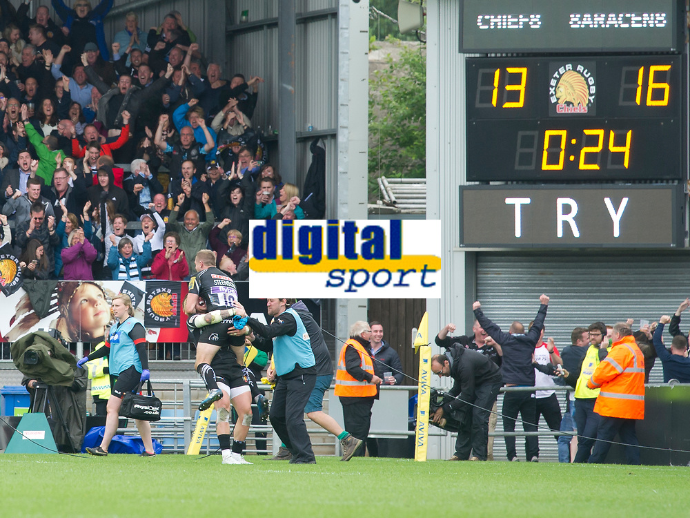 Rugby Union - 2016 / 2017 Aviva Premiership - Semi-Final: Exeter Chiefs vs. Saracens<br /> <br /> Exeter &amp; their fans celebrate as they score a try in the final minute to win the game , at Sandy Park.<br /> <br /> COLORSPORT/WINSTON BYNORTH
